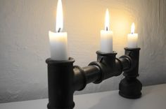 """Kerzenständer von Lampen.KO.Design aus der Serie """"Steampunk"""". Mehr Infos unter http://lampen-ko-design.blogspot.de/"""