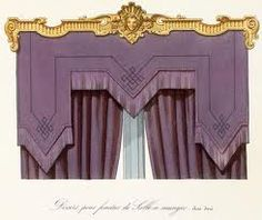 This window treatment depicts the Renaissance period well because of the use of gilded metal, and a royal purple colour in the drapes.