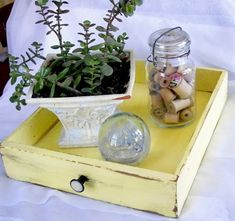Repurposed Drawer As A Tray....I love the idea and that shade of yellow