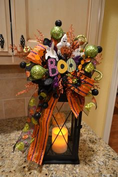 Boo Lantern Swag With Ghosts by kristenscreations on Etsy