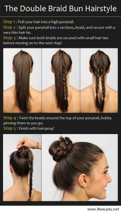 The Double Braid Bun Hairstyle Tutorial - BeaLady.net