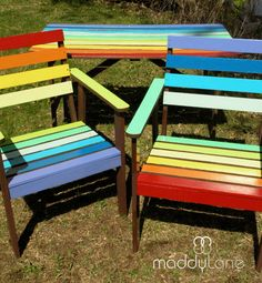 MIY Rainbow Garden Funiture with Chocolate trim. Re-vamps and Re-vitalize your garden furniture with FUN colours to energize it with life and style, make it fun!