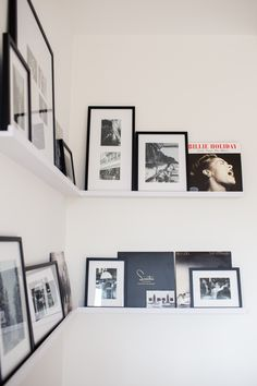 Our picture wall is finally complete! Today, I'm sharing a DIY dining nook photo ledge. I can't believe how much homier the whole room looks now. Gallery Wall Shelves, Picture Frame Shelves, Frame Shelf, Billie Holiday, Ikea Photo Ledge, Dining Nook, Golden Girls, Home Decor Inspiration, Decoration
