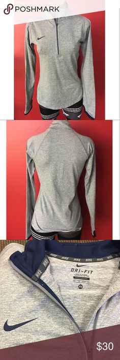 Nike 1/2 Zip Pullover NWT super soft Nike dry fit ladies pull over. Has thumb holes, perfect for the gym or lifestyle wear. Make me your best offer 😊 From a smoke free home Nike Tops Tees - Long Sleeve