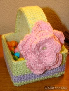 Happy Easter! This basket makes for a great candy dish. This Crochet basket is lined with plastic canvas. This is a very easy and simple project. Make One! Make Two! Give one away and Keep one too!
