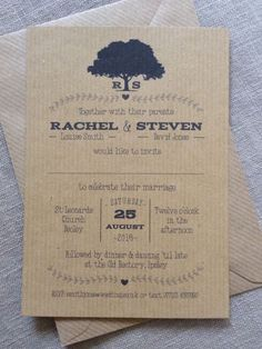 Personalised wedding invitations Rustic Vintage Kraft Brown Tree Shabby Chic
