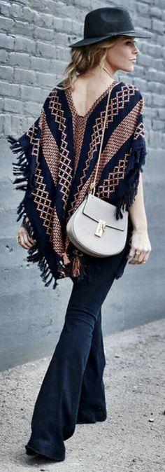 PONCHO FREE PEOPLE | DENIM STELLA MCCARTNEY | BAG CHLOE | HAT MADEWELL / Fashion Look by Happily Grey