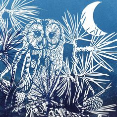 'Owl Amongst The Pines' By Printmaker Caroline Barker. Blank Art Cards By Green Pebble. Woodcut Art, Linocut Prints, Art Prints, Caroline Barker, Fox In Snow, Turquoise Art, Owl Art, Art Classroom, Pebble Art