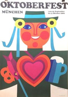 OctoberFest (Germany, 1969) Travel Illustration, Retro Illustration, Cool Posters, Travel Posters, Vintage Posters, Vintage Art, Felted Wool Crafts, Illustrations And Posters, Vintage Travel