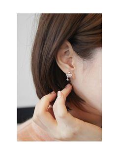 The new 925 sterling silver crown Korea zircon crystal gemstones inlaid female micro diamond star earrings earrings hanging earrings - Taobao Taiwan, omnipotent Taobao