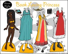 Fantasy paper doll with some books and three dresses, also a crown. I suppose that makes her a princess. She's available in black and white for coloring or in full color.