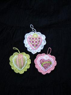 Hand Crocheted Heart OrnamentSet of 3 Valentine Day by GalyaKireva, $30.00