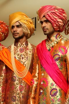 Indian groom wear. Sherwani with turban and statement necklace.