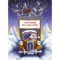 All Aboard For Christmas - We love this design - personalise the front of Santa's vintage truck by adding your company name to this Charity Christmas Card Corporate Christmas Cards, Company Christmas Cards, Charity Christmas Cards, Personalised Christmas Cards, Father Christmas, Christmas Snowman, Xmas, Santa And His Reindeer, Card Companies