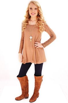 Simple Gal Lace Top in Taupe - A flared A-line hem, delicate lace detailed sleeves, and a cozy material all combine to create a simple and sweet top. Just enough detail for personality without being overstated. And not to mention comfortably lightweight and soft. It's a simple gal's go-to top!  - available online at http://www.envyboutique.us/shop/simple-gal-lace-top-taupe/ #Envy #Boutique #chic #fashion #fashiontrends #LaceTunic, #TaupeLaceTop, #TaupeTop, #TaupeTunic, #T