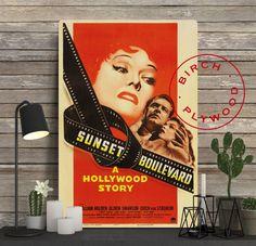 SUNSET BOULEVARD Movie Poster on Wood, William Holden, Gloria Swanson, Billy Wilder, Unique Gift, Birthday Gift, Print on Wood