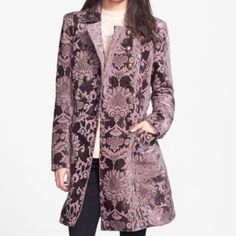 Free People Brocade Plum Jacket A military-inspired Free People coat in tactile paisley brocade. Etched, antiqued buttons fasten the cuffs and double-breasted placket, and frayed edges give the piece a vintage feel. Patch hip pockets. Satin Lining  I DO NOT TRADE Free People Jackets & Coats