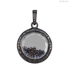 Natural 1.36ct Diamond Shaker Pendant Crystal Quartz 925 Sterling Silver Jewelry #raj_jewels