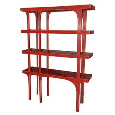 Red Lacquered Wood Bookshelves c1970's France| From a unique collection of antique and modern shelves at http://www.1stdibs.com/furniture/storage-case-pieces/shelves/