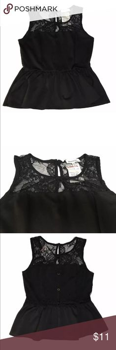 Monteau Los Angeles Peplum Lace Black Top Size M • 78% Polyester  • 18% Rayon • 4% Spandex  • Button back  • Sheer black lace front and back  • Smoke free Monteau Tops Blouses