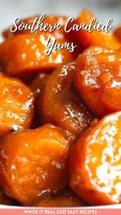 Candied yams is a old fashioned side dish that's slow cooked in a candied mixture on the stove-top with warm spices, sugar and butter.