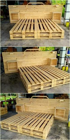 Wooden Pallet Furniture 48 Creative DIY Pallet Projects and Pallet Furniture Designs Diy Pallet Bed, Wooden Pallet Projects, Wooden Pallet Furniture, Wooden Pallets, Pallet Couch, Pallet Patio, Pallet Bed Frames, Wooden Beds, Outdoor Furniture