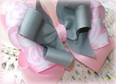Girls Hair Bow...Pink White and Grey Hair Bow.....Boutique Hair Bow...Toddler Hair bow. $4.00, via Etsy.
