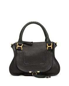 Marcie Perforated Medium Shoulder Bag, Black by Chloe ~ Cynthia Reccord Chloe Handbags, Black Handbags, Spring Handbags, Fab Bag, Designer Crossbody Bags, Designer Handbags, Chloe Bag, Prada Bag, Bago