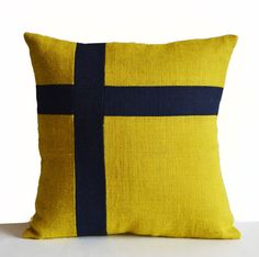 Burlap Pillow Cover -Nautical Pillow -Oceanic Pillow -Yellow Blue Pillow -Swizz Cross Pillow -Present -Housewarming -Dorm Decor -All Sizes Teal Throw Pillows, Nautical Pillows, Orange Pillows, Burlap Pillows, Custom Pillows, Decorative Throw Pillows, Owl Pillows, Nautical Theme, Nautical Home Decorating