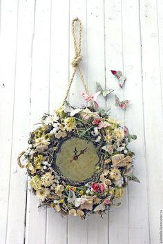 Часы для дома ручной работы. Ярмарка Мастеров - ручная работа. Купить Часы Весна. Handmade. Лимонный, декор дома