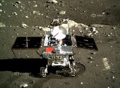 The Yutu rover as seen from the Chang'e 3 lander. Photo: Chinese Academy of Sciences