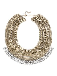 A multi-layered chain bib adds serious edge to an ensemble, and with a row of clear crystal, it adds just the right touch of sparkle to dress up an evening ensemble.