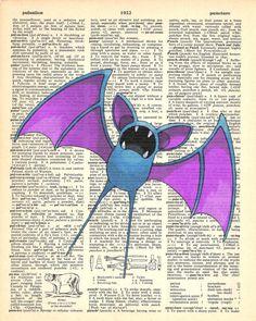 Zubat Pokemon Dictionary Art Print by MollyMuffinsPrints on Etsy