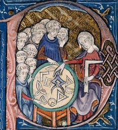 A woman teaching geometry, from a 14th century illustration attributed to Abelard of Bath    In this 14th century illustration from a copy of Euclid's Elements, a woman is shown holding a compass and square, teaching geometry to a group of monks.