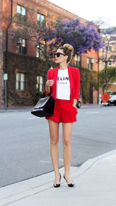 red shorts and blazer by jennifer grace Look Blazer, Red Blazer, Jennifer Grace, Red Suit, Short Suit, Street Style, Red Street, Summer Street, Street Chic