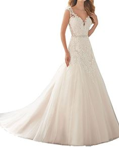 e1c893f06ae9 YORFORMALS Vintage Mermaid Wedding Dress for Brides Lace Bridal Gown Size 2  Ivory ** Continue to the product at the image link.