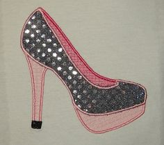 Shoes High Heels Applique - Perfect for a little Diva - INSTANT DOWNLOAD Machine Embroidery Design by Carrie