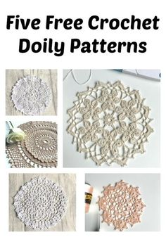 Five Free Crochet doily Patterns No 2 Vintage inspired doilies for you to make, to embellish your beautiful home. Free Crochet Doily Patterns, Crochet Patterns For Beginners, Crochet Motif, Hand Crochet, Knitting Patterns, Crochet Lace, Crochet Ideas, Stitch Patterns, Crochet Coaster