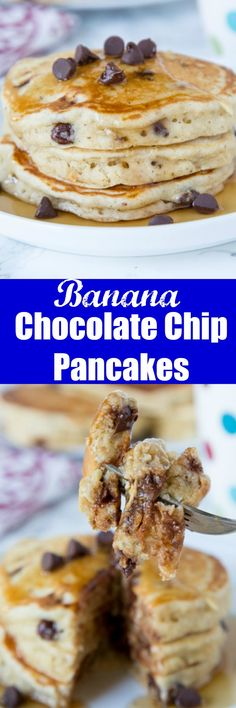 Chocolate Chip Banana Pancakes - light and fluffy banana pancakes with lots of chocolate chips. Great to use up those bananas on your counter! Best Breakfast Recipes, Savory Breakfast, Sweet Breakfast, Breakfast Time, Breakfast Ideas, Fall Breakfast, Pancake Recipes, Breakfast Dishes, Brunch Ideas