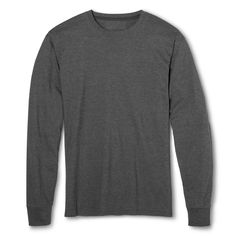 Men's Fruit of the Loom Long Sleeve T-Shirts Charcoal Heather -M, Size: Medium, Gray