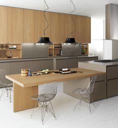 Axis 012 küche mit kücheninsel by zampieri cucine design stefano . Kitchen Island Table, Kitchen Dinning Room, Kitchen Nook, Kitchen Sets, Kitchen Layout, New Kitchen, Kitchen Decor, Dinning Table, Modern Kitchen Design