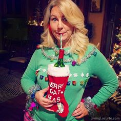 Funny Ugly Christmas Sweater Party Ideas! How to make a wine bottle sweater and Ugly Christmas Sweater Cake by Amy Locurto. LivingLocurto.com #wine #uglychristmassweater