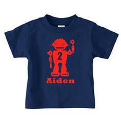 """Personalized robot birthday t shirt with a name and age of your child. Super cute robot birthday tee shirt for boys. This t shirt is great for a birthday t-shirt, gift or just for everyday fun. Pick your colors, add the name and make it yours!.  Please indicate the following in the """"Message to Seller"""" at checkout:  * Size * Apparel Color * Design color * Name / number  ______________________________  Infant onesie: Newborn, 6 Months, 12 Months, 18 Months, Apparel Colors(onesies): White, Lt…"""