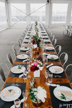 Modern long tablescape: http://www.stylemepretty.com/2016/04/08/a-navy-yard-wedding-with-boston-skyline-views/ | Photography: Dylan and Sara - http://dylandsara.com/