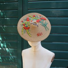 1950s French Riviera embroidered sun hat by PintuckVintage on Etsy