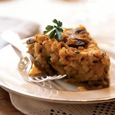 Matzo, Mushroom, and Onion Kugel  #recipe #passover