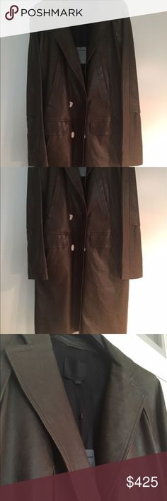 Man's Leather coat Alexander Wang Never worn Alexander Wang leather coat double breasted ( buttons still wrapped) size medium. Beautiful soft leather color brown green nice details stitching , pockets, below the knee lengthpkease intact me for addl information Alexander Wang Jackets & Coats