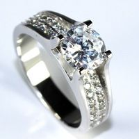 Wholesale 7mm Size Cubic Zircon Simulated Diamond Engagement Rings for Women 2014 New Wedding Band Crystal Ring S925 Silver 006