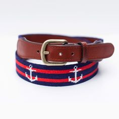 Striped Anchor on Dark Navy Needlepoint Belt, $165