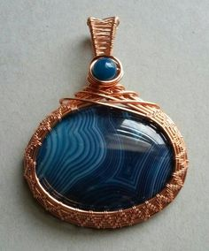 Blue Agate Pendant Wire Wrapped Pendant by SparrowSongInDesign
